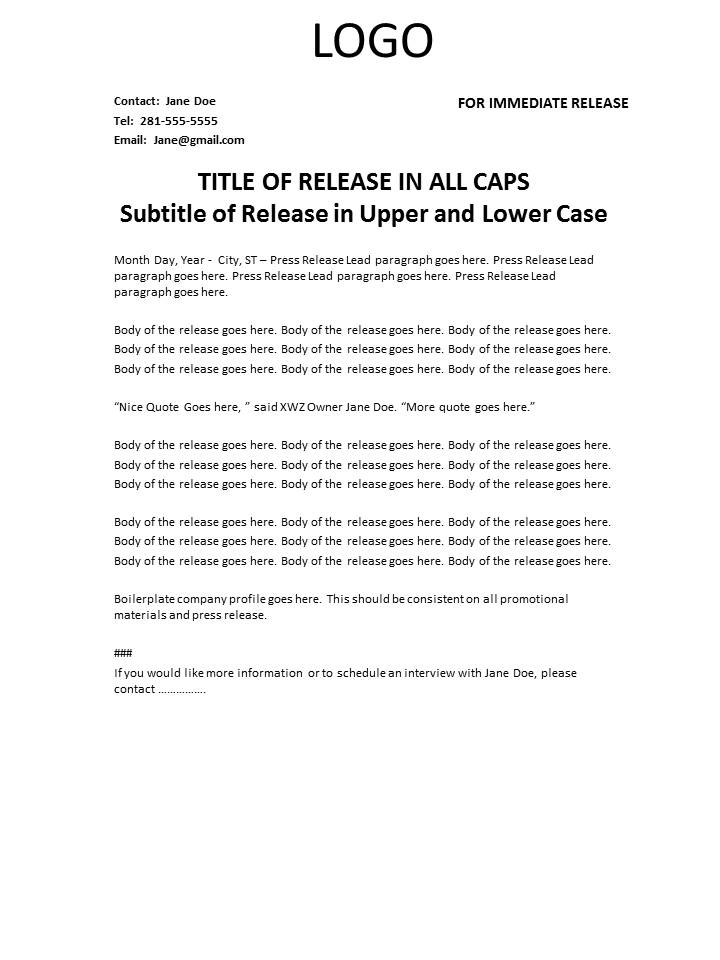 Press release template coppelljournalism for Ap press release template